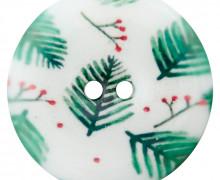1 Polyesterknopf - Rund - 28mm - 2-Loch - Weihnachten - Tannenzweige & Rote Beeren - Weiß