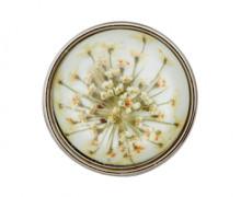 1 Metall-Polyesterknopf - Rund - Gewölbt - Blumen - 23mm -  Öse - Warmweiß