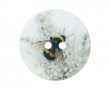 1 Perlmuttknopf - Rund - 20mm - 2-Loch - Biene Von Oben & Blüte - Warmweiß