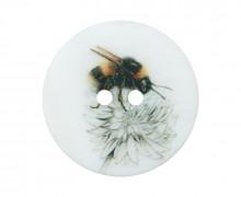 1 Perlmuttknopf - Rund - 20mm - 2-Loch - Seitliche Biene & Blüte - Warmweiß