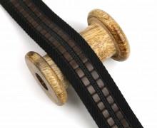 1m Gurtband Für Taschen -35mm - Kunstlederstreifen - Schwarz/Braun