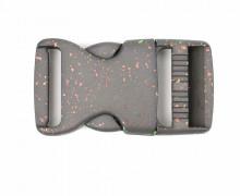 1 Steckschnalle - 30mm - Kunststoff - Glitzer - Grau