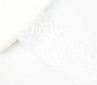 1m Elastische Spitze - Raschelspitze - 80mm - Blumen - Weiß