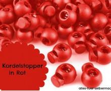 10 Kordelstopper - Rund - Rot - ø 0,7cm