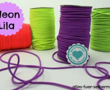 2 Meter - Gummi Kordel - 3mm - Neon - Lila