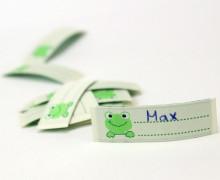 10 Label zum aufbügeln - Frosch - Namensetikett