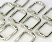 10 gewölbte Vierkant-Ringe 25mm,Silber Taschenring