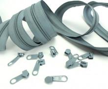 2m Endlos Reißverschluss*Breit* + 10 Zipper Grau(319)