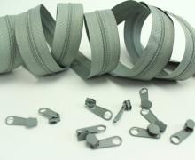 2m Endlos Reißverschluss*S* + 10 Zipper Hellgrau (316)