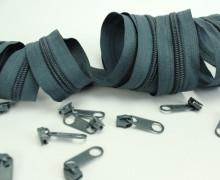 2m Endlosreißverschluss*B+10 Zipper - Blaugrau (321)
