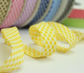 3m Schrägband - Vichy Karo - Gelb