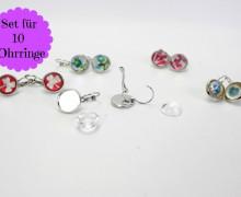 10 Ohrringe - Hängend - DIY Set - Silber - Klein