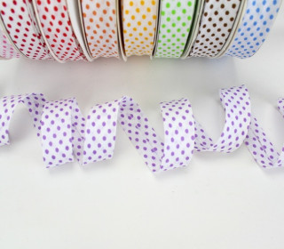 3m Schrägband - Punkte - Lavendel