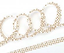 3 Meter Paspelband - Biesenband - 10mm - Punkte - Braun