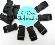 10 x 20mm Steckschnalle zum Regulieren - Schwarz