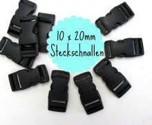 20mm Steckschnalle - zum Regulieren - 10 Stück - Schwarz