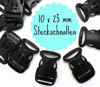 10 x 25mm Steckschnalle zum Regulieren - Schwarz