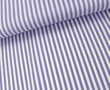Baumwollstoff - Streifen - Lavendel / Weiß