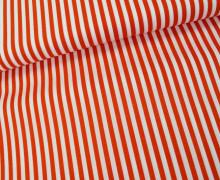 Baumwollstoff - Streifen - Orange / Weiß