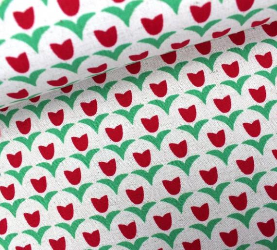 Stoff Tulip Rot Kokka Canvas Frau Tulpe