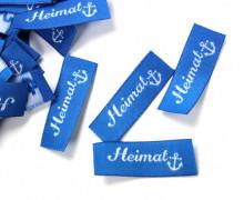 10 fertige Handmade Label Heimat - Anker - blau