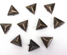 10 Nieten - Dreiecke - Silber - Bronze