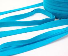 3 Meter elastisches Schrägband - 15mm - Jersey - Cyanblau