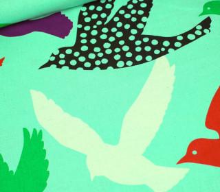 Stoff - Echino - Big Birds - Mint - Kokka
