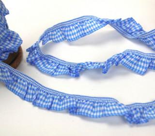 Vichy Rüschenband - Hellblau - einseitige Rüsche