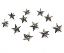 10 Nieten - Sterne - Antik-Silber - Klein - 12mm