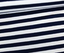 Viskose Jersey - Streifen - 9mm - Schwarzblau/Weiß