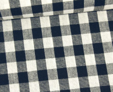 Vichy Stoff - Webware - Große Karos - Bauernkaros - 10mm x 11mm - Nachtblau