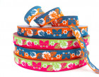 Webband - HappyHawaii - Orange/Blau - Blumen