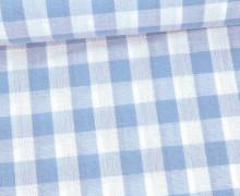 Vichy Stoff - Webware - Große Karos - Bauernkaros - 10mm x 11mm - Hellblau