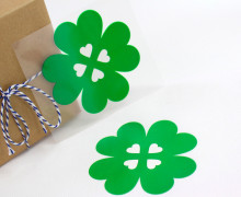 1 Bügelbild - Aufbügler - Glücksklee -Groß- Grün