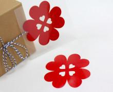 1 Bügelbild - Aufbügler - Glücksklee - Groß - Rot