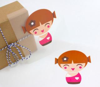 1 Bügelbild - Geisha 1 - Pink - Aufbügler