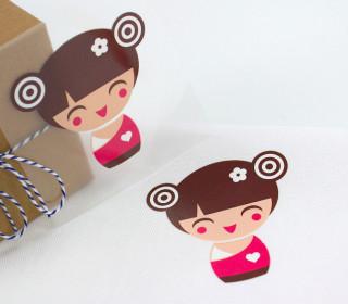 1 Bügelbild - Geisha 2 - Pink - Aufbügler