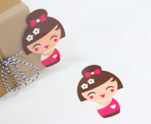 1 Bügelbild - Geisha 4 - Pink - Aufbügler