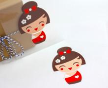 1 Bügelbild - Geisha 4 - Rot - Aufbügler