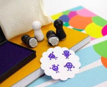 4 Mini Stempel Set mit Stempelkissen - E - Monster