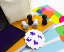 4 Mini Stempel Set mit Stempelkissen - F - Zoo