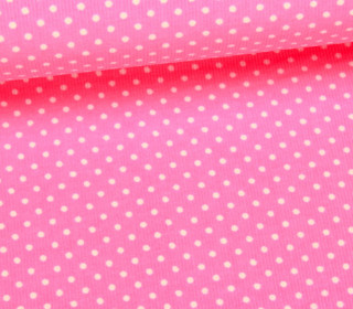 Cord mit kleinen Punkten - Babycord - Rosa/Weiß