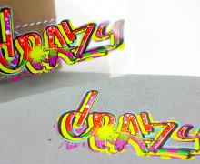 1 Bügelbild - Crazy - Street Art - Aufbügler