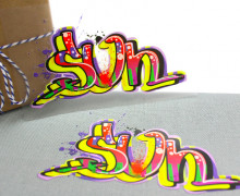 1 Bügelbild - Sun - Street Art - Aufbügler