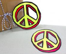 1 Bügelbild - Peacezeichen - Gelb/Pink - Aufbügler