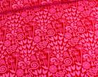 Jersey - Yolanda - Blumen - Herzen - Pink / Rot