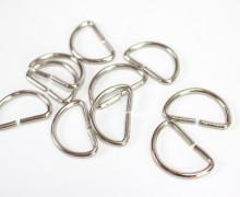 10 D-Ringe - 30mm - Halbring - Taschenring - Silber