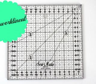 Patchworklineal 16cm x 16cm - Schwarz -Quiltlineal