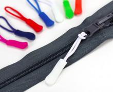 1 Zipper Schlaufe - Reißverschluss Anhänger - Weiß
